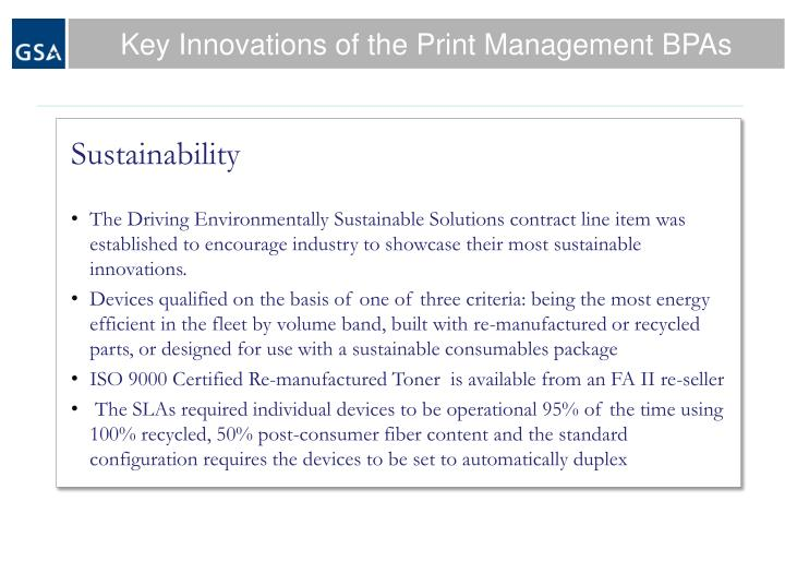 Key Innovations of the Print Management BPAs
