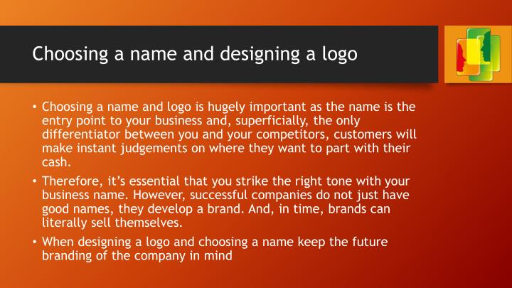 Choosing a name and designing a logo