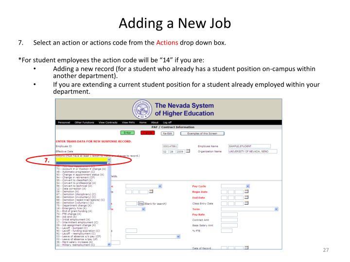 Adding a New Job