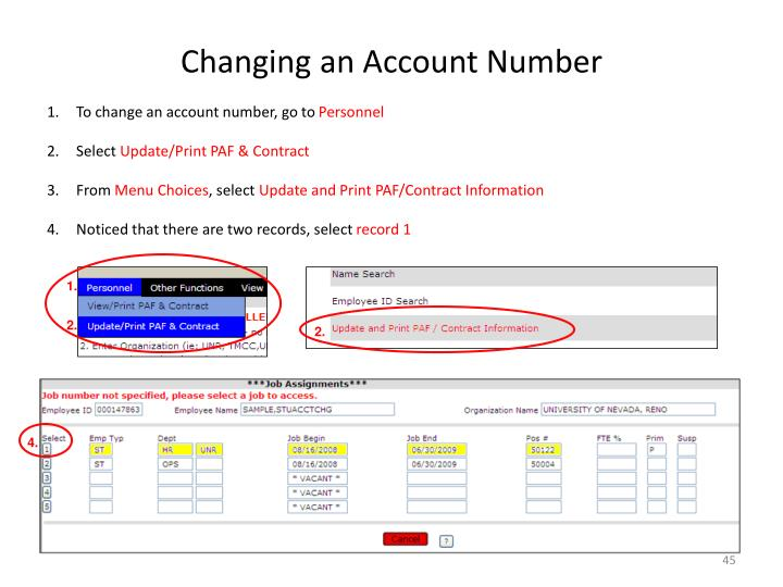 Changing an Account Number
