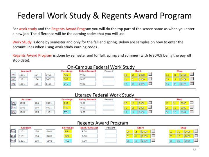 Federal Work Study & Regents Award Program