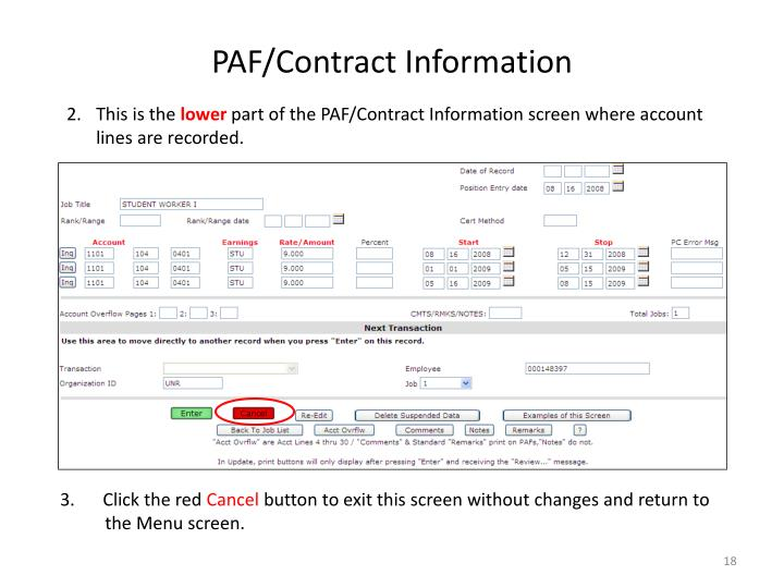 PAF/Contract Information