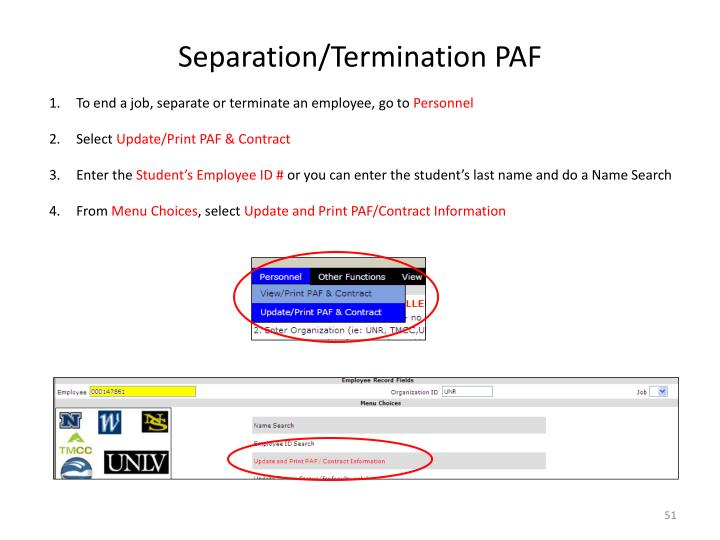 Separation/Termination PAF