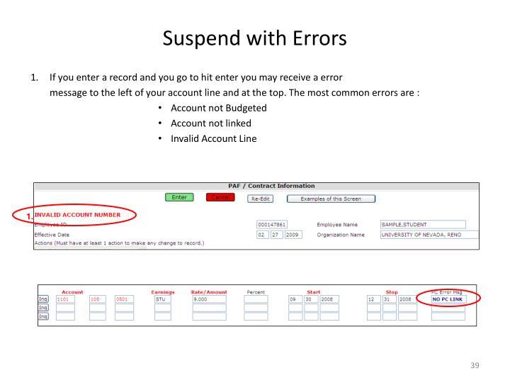 Suspend with Errors