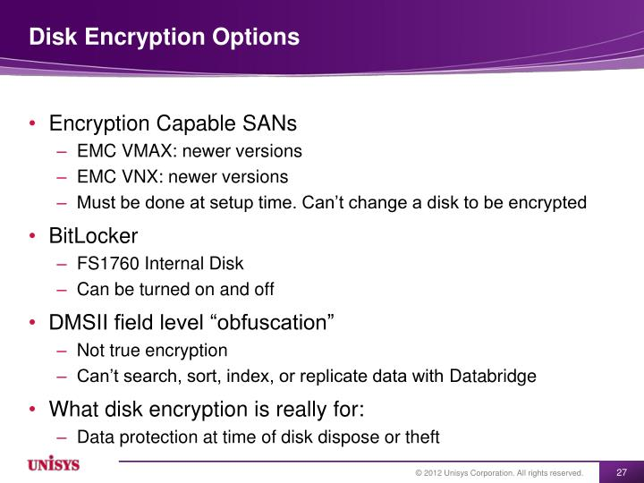 Disk Encryption Options