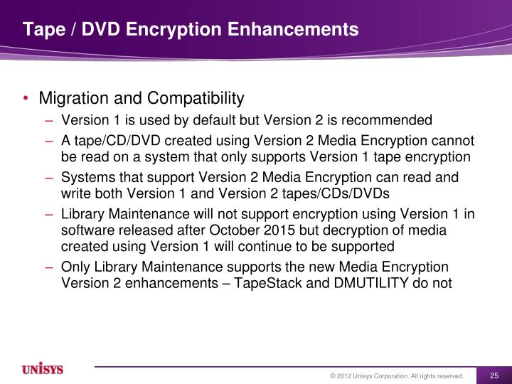 Tape / DVD Encryption Enhancements