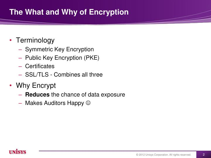 The what and why of encryption