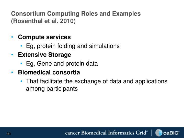 Consortium Computing Roles and Examples (Rosenthal et al. 2010)