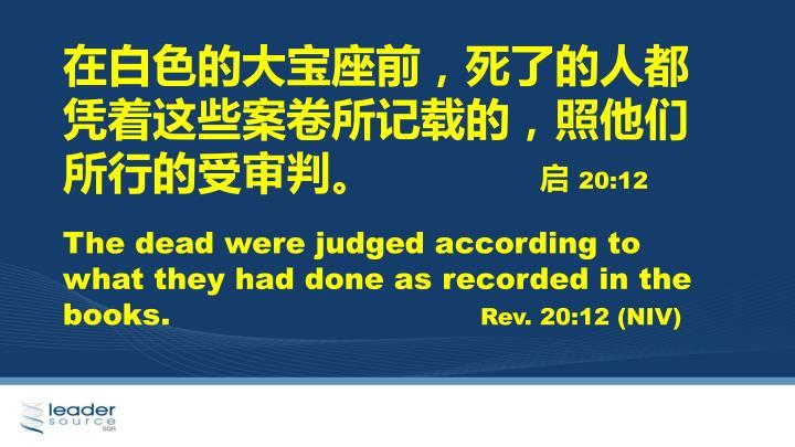 在白色的大宝座前,死了的人都凭着这些案卷所记载的,照他们所行的受审判
