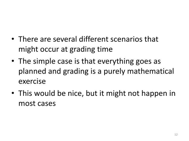 There are several different scenarios that might occur at grading time