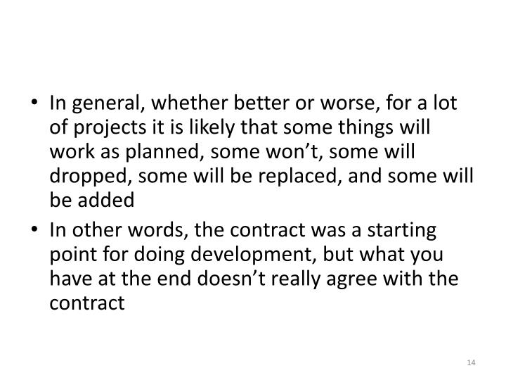 In general, whether better or worse, for a lot of projects it is likely that some things will work as planned, some won't, some will dropped, some will be replaced, and some will be added