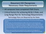 beaumont isd recognizes necessary state requirements