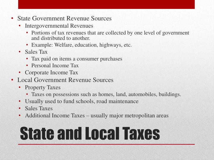 State Government Revenue Sources