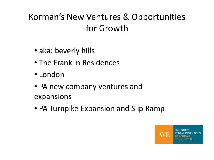 Korman's New Ventures & Opportunities