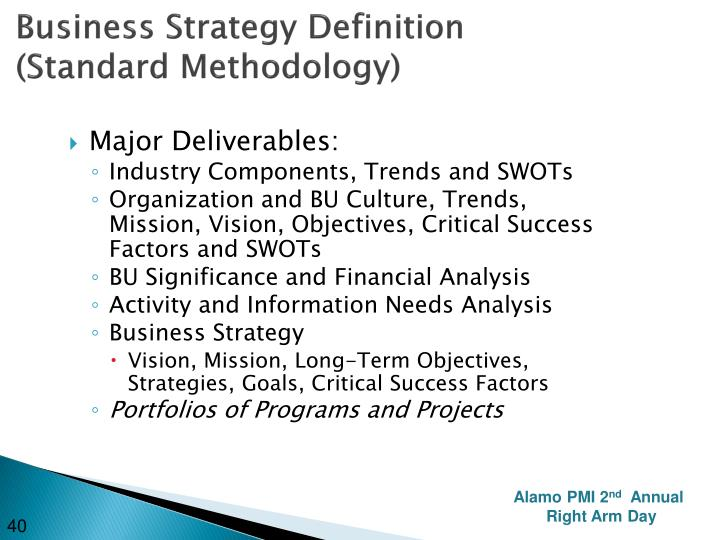 Business Strategy Definition (Standard Methodology)