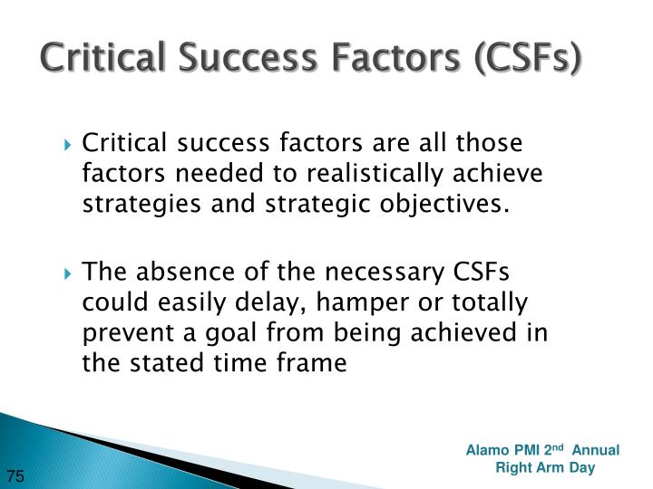 Critical Success Factors (CSFs)