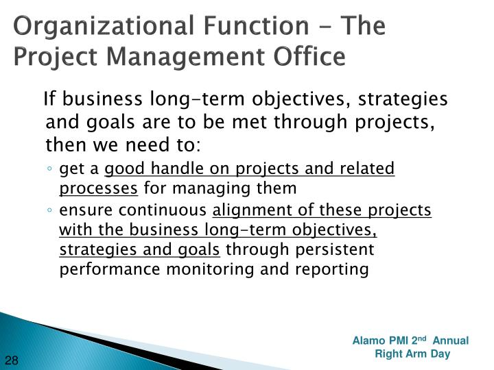 Organizational Function - The Project Management Office