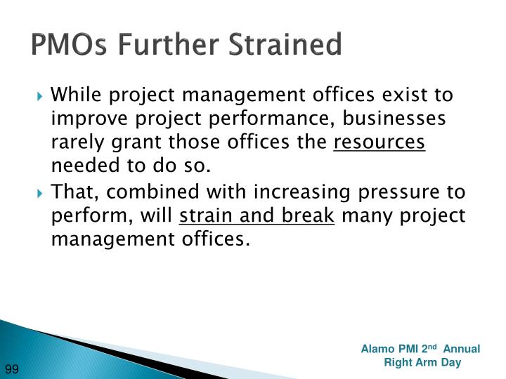 PMOs Further Strained