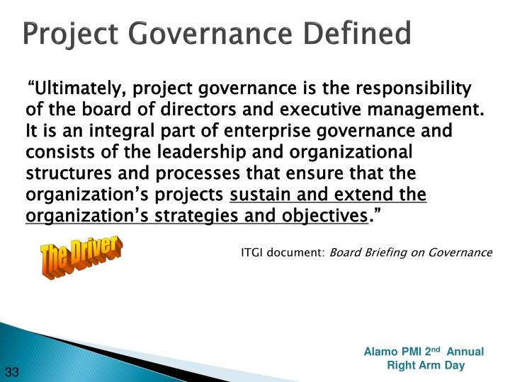 Project Governance Defined