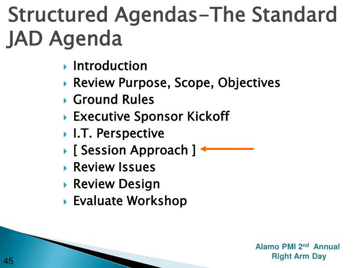 Structured Agendas-The Standard JAD Agenda