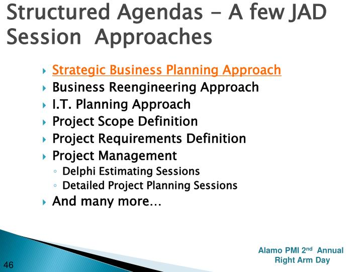Structured Agendas - A few JAD Session  Approaches