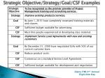 strategic objective strategy goal csf examples