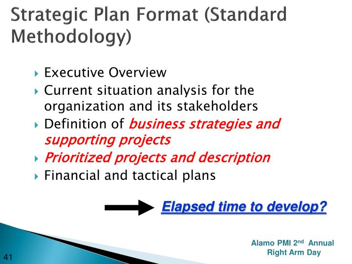 Strategic Plan Format (Standard Methodology)