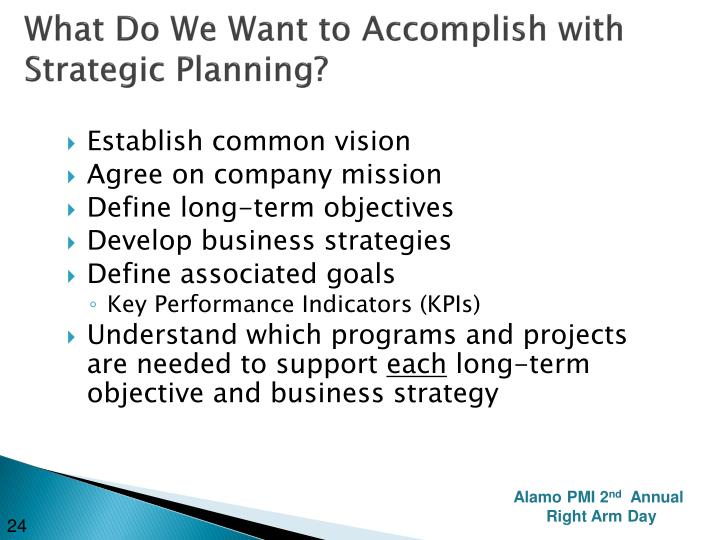 What Do We Want to Accomplish with Strategic Planning?