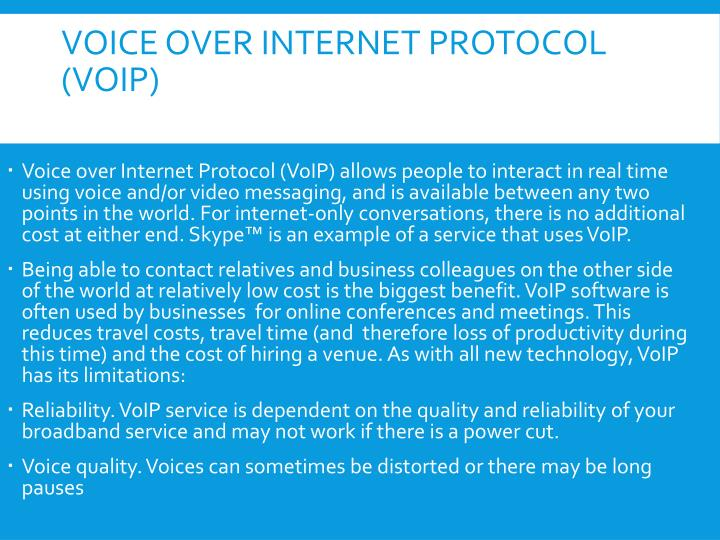 the functions of voice over internet Voip (voice over internet protocol) converts your voice into a digital signal that travels over the internet if you are calling a regular phone number.