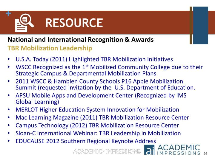 National and International Recognition & Awards
