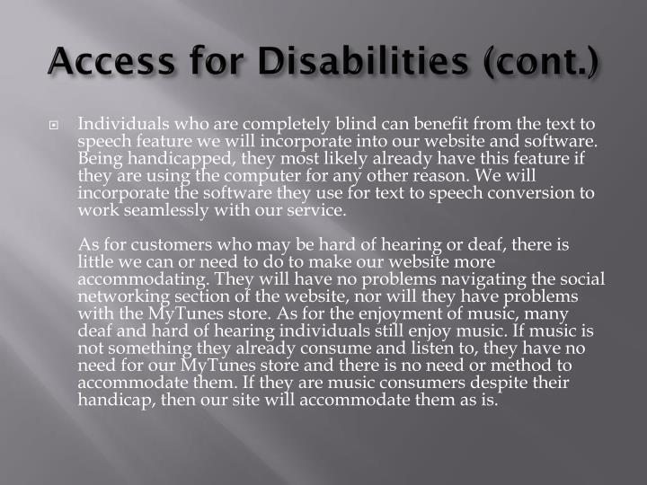 Access for disabilities cont