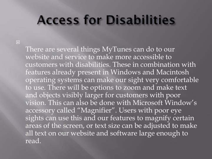 Access for disabilities