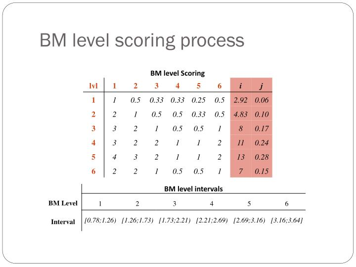 BM level scoring process