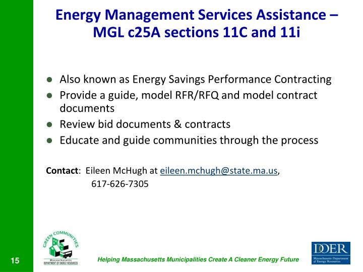 Energy Management Services Assistance – MGL c25A sections 11C and 11i