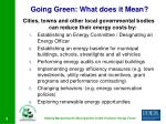 going green what does it mean