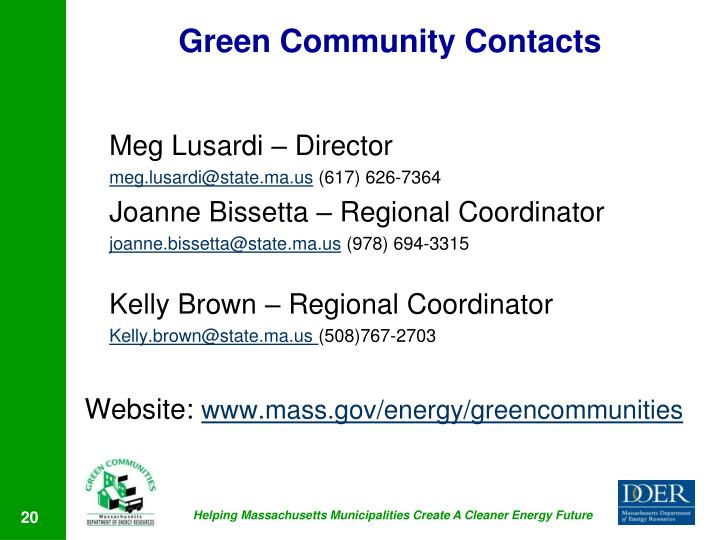 Green Community Contacts