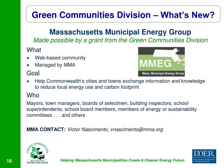 Green Communities Division – What's New?