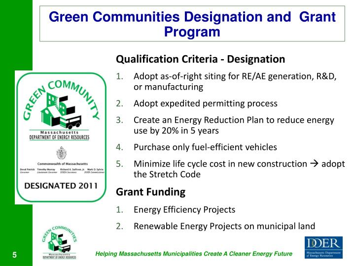 Green Communities Designation and  Grant Program