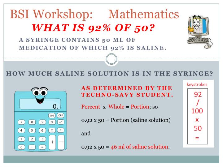 BSI Workshop:     Mathematics