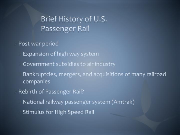 Brief History of U.S. Passenger Rail