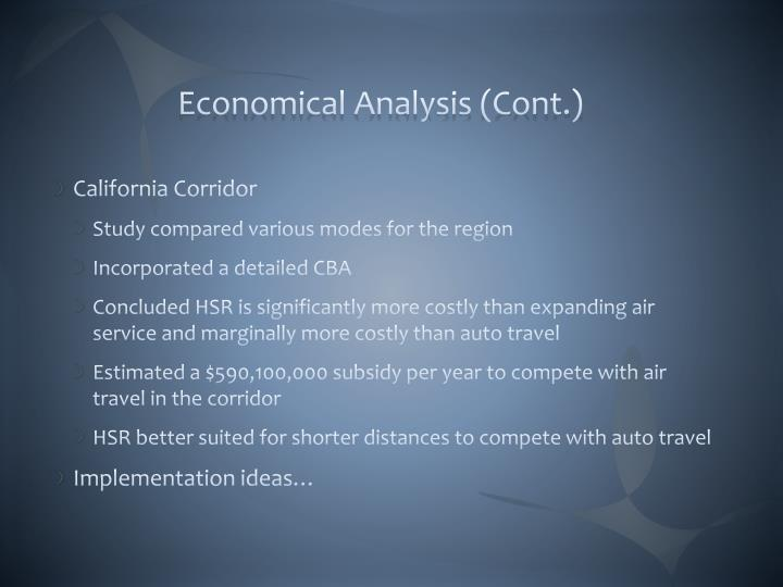 Economical Analysis (Cont.)