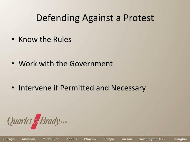 Defending Against a Protest