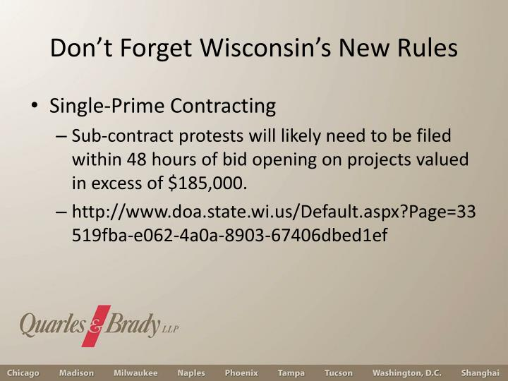 Don't Forget Wisconsin's New Rules