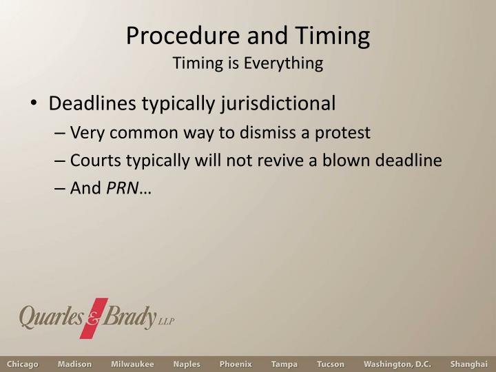 Procedure and Timing