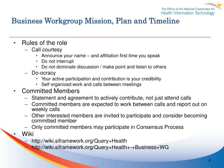 Business Workgroup Mission, Plan and Timeline