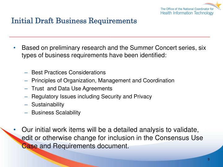Initial Draft Business Requirements