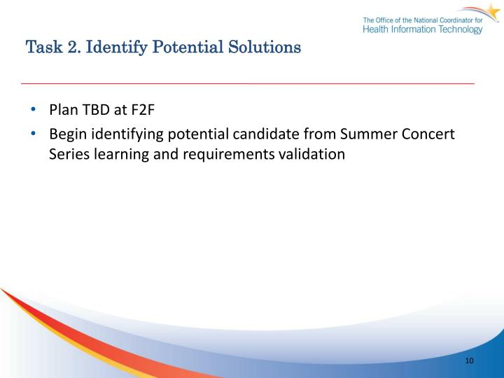 Task 2. Identify Potential Solutions