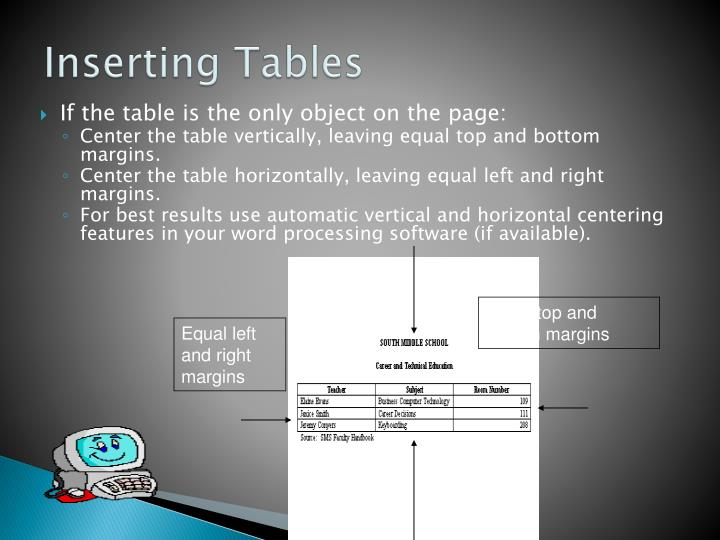 If the table is the only object on the page: