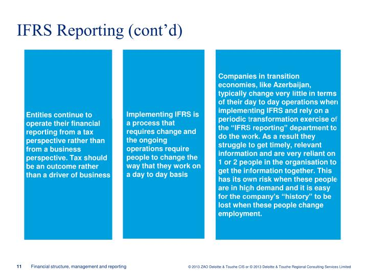 IFRS Reporting (cont'd)
