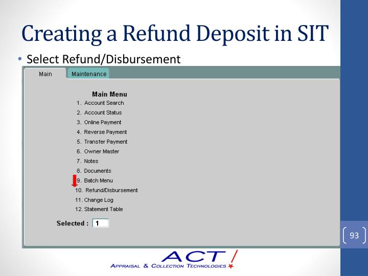 Creating a Refund Deposit in